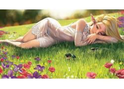 精灵,动漫女孩,青蛙,草,花卉291950