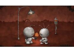 数字艺术,机器人,爱,花卉,路灯,红绿灯,齿轮,艺术品,心,天线,划痕