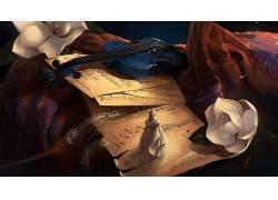 小提琴,艺术品,数字艺术,花卉,音符,乐器246416