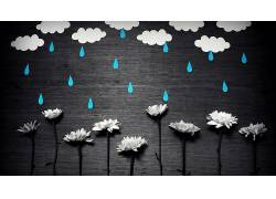 极简主义,简单,简单的背景,花卉,云,雨,水滴,纸,选择性着色,手工