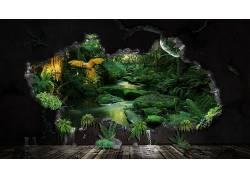 数字艺术,CGI,壁纸,丛林,流,岩,植物,鸟类,鹦鹉,树木,水,壁,木表图片