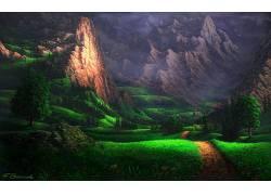数字艺术,壁纸,树木,山,森林,岩,草,路径,薄雾,阳光,花卉,鸟类,屋图片
