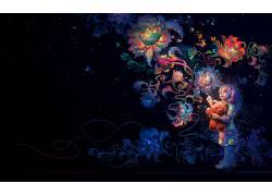 数字艺术,孩子,花卉,泰迪熊,抽象,极简主义686832