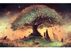 数字艺术,幻想艺术,人,绘画,艺术品,轮廓,壁纸,领域,树木,妇女,孩图片