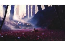 数字艺术,幻想艺术,插图,薄雾,木,树木,花卉,黑暗,灯火,鹿,建造68