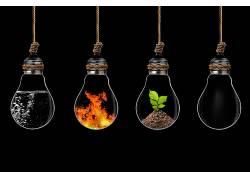 数字艺术,灯泡,绳索,水,火,植物,地面,黑色的背景,四个要素146108