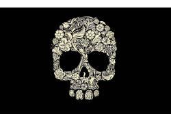 数字艺术,简单的背景,极简主义,黑色的背景,头骨,花卉,树叶,玫瑰,