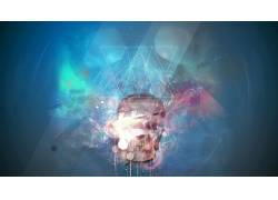 数字艺术,艺术品,头骨,抽象,氖,花卉,玫瑰,三角形,几何377986