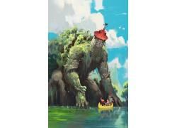 巨人,数字艺术,水,船,人,岩石,苔藓,植物,钟楼,Victor Maury68167