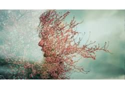数字艺术,艺术品,树木,植物,花卉,面对,张开嘴,科,想像力,创造力2