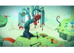 数字艺术,艺术品,超现实主义,鼻子,耳朵,乐器,壁纸,浮岛,猫,花卉,