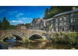 市容,建筑,建造,威尔士,联合王国,桥,河,HDR,老建筑,石头,树木,砖