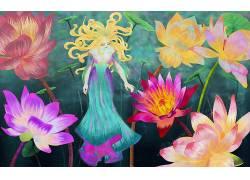 幻想女孩,花卉,艺术品,幻想艺术134589