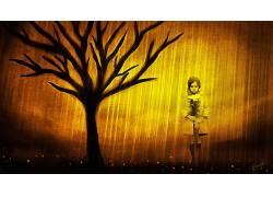 幻想艺术,幻想女孩,花卉,树木193207