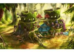 幻想艺术,数字艺术,屋,蘑菇,树桩,树木,抽烟,管道,树叶,森林,苔藓