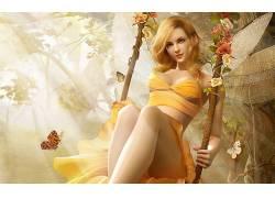 幻想艺术,数字艺术,翅膀,仙女,幻想女孩,花卉,波动67305