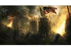 幻想艺术,数字艺术,艺术品,树木,森林,植物,黑暗,军事,士兵,美国,