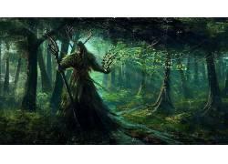 幻想艺术,数字艺术,艺术品,树木,森林,植物,黑暗,生物,水,月亮射