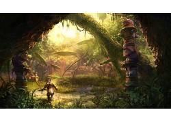 幻想艺术,数字艺术,艺术品,树木,森林,植物,黑暗,生物,纪念碑,阳