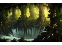 幻想艺术,数字艺术,艺术品,树木,森林,植物,黑暗,秋季,水395042