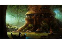 幻想艺术,数字艺术,艺术品,科幻小说,树木,森林,植物,黑暗,船,树