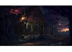 幻想艺术,数字艺术,路灯,屋,树木,梯子,路,植物,单独,晚,灯火,老