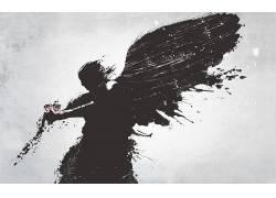 幻想艺术,玫瑰,花卉,天使,翅膀198843