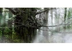 幻想艺术,艺术品,像素化,数字艺术,屋,树木,植物,树叶,绳索,树屋3
