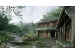 幻想艺术,艺术品,数字艺术,屋,树木,植物,树叶,窗口,雨,中国,楼梯