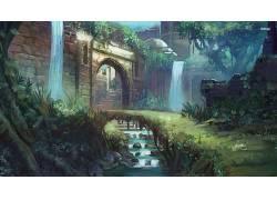 幻想艺术,艺术品,数字艺术,科幻小说,秋季,植物,岩石,建筑395017