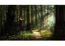 幻想艺术,艺术品,蝴蝶,树木,路径,阳光,植物394084