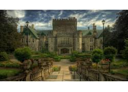 建筑,城堡,树木,加拿大,HDR,公园,云,花卉,篱笆161246