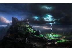 树木,壁纸,植物,岩,石头,太阳光线,风暴489915