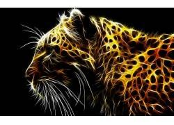 抽象,动物,豹,Fractalius,豹(动物),数字艺术134309