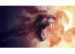 抽象,狮子,艺术品,动物357594