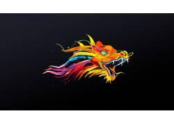 抽象,贾斯汀马勒,动物,面,龙,简单的背景,数字艺术,华美,低聚8889