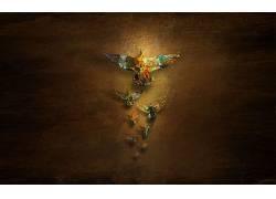 抽象,鸟类,木,数字艺术,动物57268