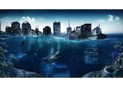 沉没的城市,水,龟,潜水员,拆分视图,摩天大楼,珊瑚,海豚,鱼,数字