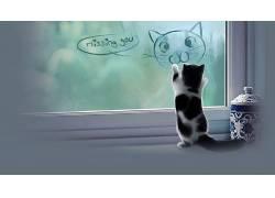 动物,猫,小动物,小猫,罐子,窗口,数字艺术239722