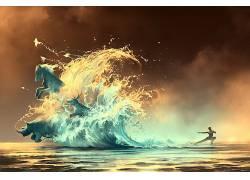 阿凡达,水,艺术品,AquaSixio,波浪,犀牛,马,鸟类,数字艺术,幻想艺