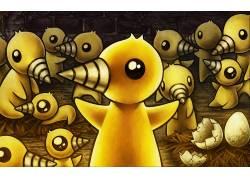 动物,画画,艺术品,鸭,锥,蛋,黄色,小动物169484