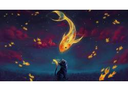 动画片,猫,金鱼,艺术品,云,时钟,性质,动物,数字艺术,超现实主义,