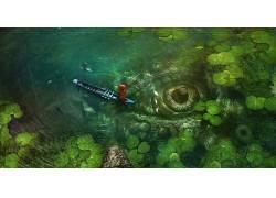 钓鱼,眼睛,池塘,艺术品,船,幻想艺术,钓竿,植物,壁纸141037图片