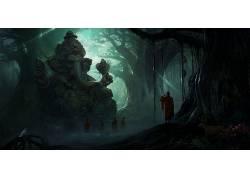 抽象,象头神,树木,和尚,黑暗,薄雾,阳光,鹿,花卉,猴,鸟类,太阳光