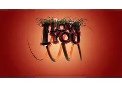 爱,活版印刷,红色背景,花卉,植物,数字艺术225854图片