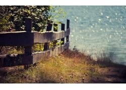 壁纸,夏季,篱笆,草,植物,湖607393图片