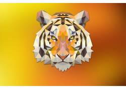 虎,红,橙子,三角形,幻想艺术,数字艺术,动物,低聚183549图片