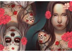 艺术品,头骨,妇女,花卉,黥134645