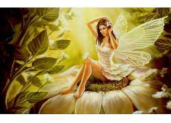 艺术品,幻想艺术,妇女,翅膀,连衣裙,白色礼服,花卉,树叶,壁纸,腿,