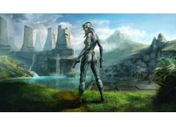 艺术品,幻想艺术,枪,西装,Tabula Rasa,视频游戏,未来,草,水,妇女
